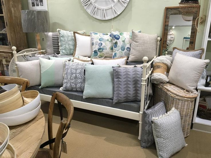 Now that's a lot of cushions!! #madraslink #nicholasagency #newseason #cushions #mint #grey #hessian #homedecor #homestyling #lounge