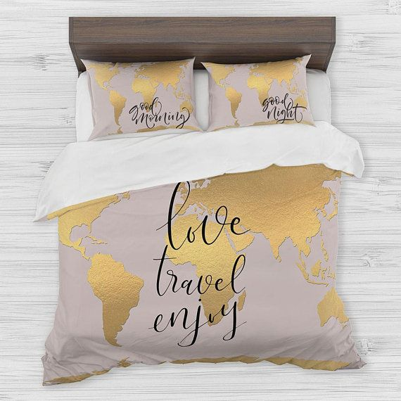 36 best wanderlust watercolor abstract boho world map duvet cover world map bedding golden map duvet cover set travel map bedding inspirational quote bedroom comforter decor twin full queen king gumiabroncs Choice Image