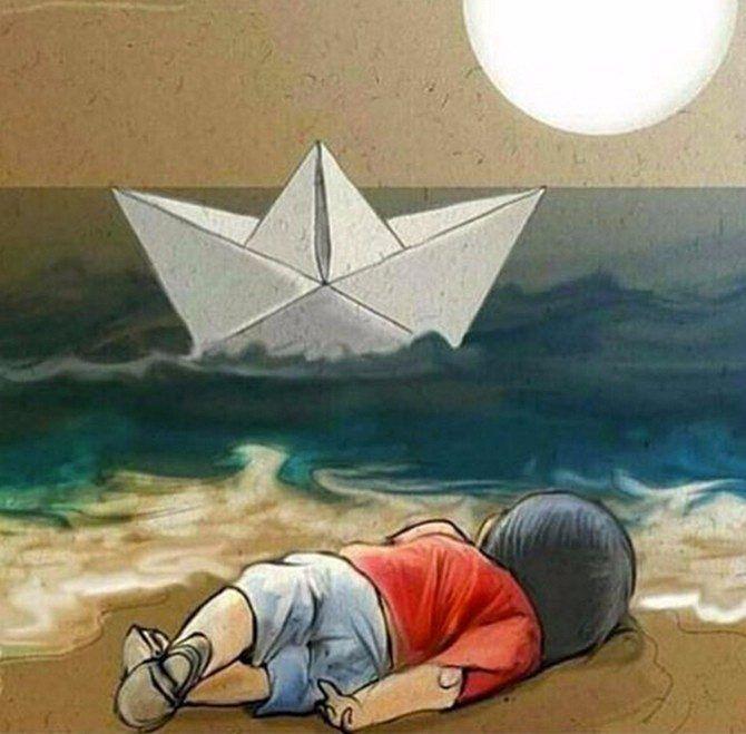 Luego de la conmoción mundial de lamuerte delniño sirio de tres años Aylan Kurdi el gobierno de Canadá decidió aprobar el asilo a sus familiares en este país.  El martes el nuevo gobierno del liberal Justin Trudeau anunció que Canadá asumió el compromiso de acoger a 10.000 refugiados sirios de aquí a fines de diciembre y otros 15.000 en enero y febrero.  Ilustración: Cortesía  #AylanKurdi #RefugeesWelcome #WorldwideNews #Canadá #Refugiados #Siria #ElAbrelata #Venezuela
