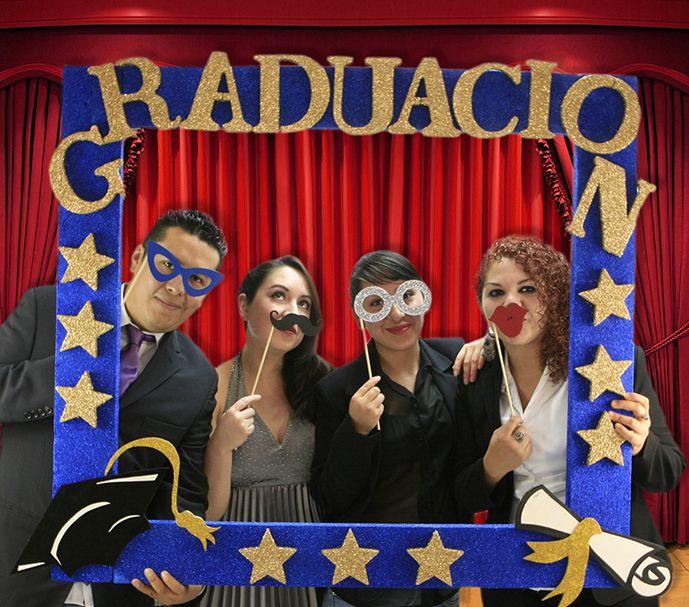 Accesorios para fiesta de graduación / Photobooth / Picks de Lentes, Bigote, Besos / Mega Marco Azul