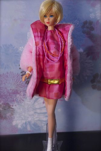 """Hair Fair Barbie is wearing Brian York's """"So Hip it Hurts!"""" from the 2002 Rocky Mountain Mod Barbie Convention."""