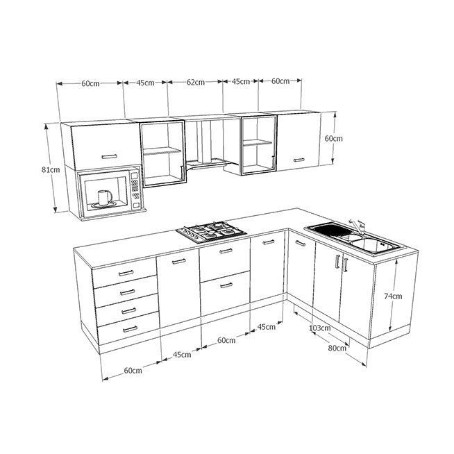 Kitchen Cabinet Dimensions: Kitchen Modular, L Shaped Modular Kitchen