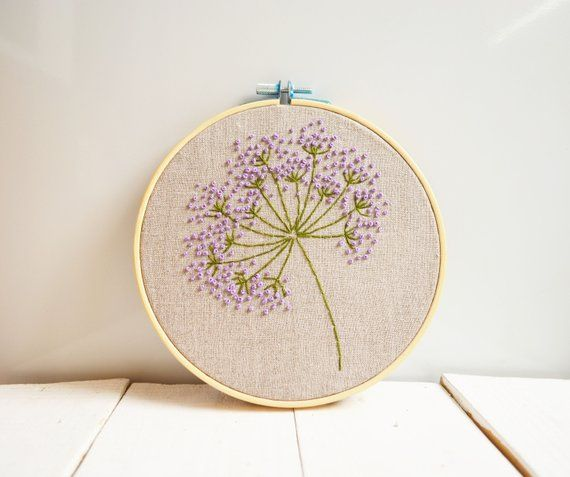 Purple flowers embroidery hoop art Floral room decor Hand embroidered Botanical …