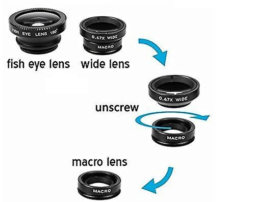 ONX3 Samsung Galaxy Beam2 (zwart) 3 in 1 telefoon Camera Lens Kit Fisheye Lens, brede hoeklens + macrolens met universele Clip-on 180 graad voor zowel Android en iOS apparaten   Fruugo