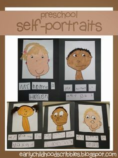Early Childhood Scribbles: Preschool Self-Portraits. Great step by step directions of how she had students make these portraits using paint and yarn