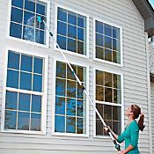 Improve the curb appeal of your house by removing grime from the siding, deck, and windows with this Telescoping Window Washer Set. Comes with 8 attachments.   http://www.improvementscatalog.com/15-telescoping-house-and-window-washer-set/cleaning-tools-cleaning-supplies/window-cleaning/367954