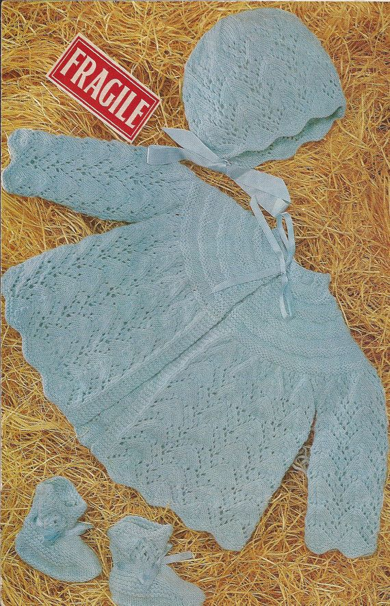 "PDF Knitting Pattern Baby Angel/Matinee Coat/Jacket/Cardigan and Bonnet 19-22"" (Y43)"
