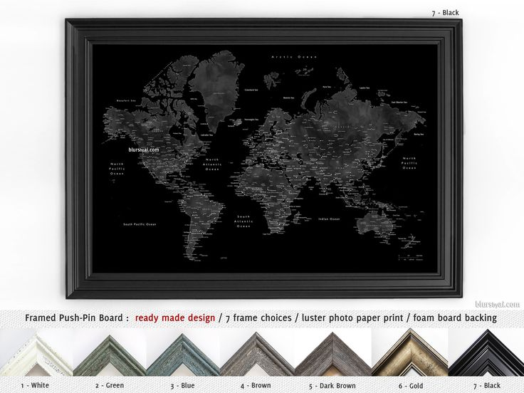 Elite framed push pin board: Black world map with cities. Color combination: coal mine #MapMountedOnCorkBoard #HandmadeFramedPushPinBoard #FramedPushPinBoard #MadeInUsa #HandmadeInUsa #AnniversaryGiftIdea #FoamCoreBoard #FramedCorkboard #CorkBoardBacking #AnniversaryGift