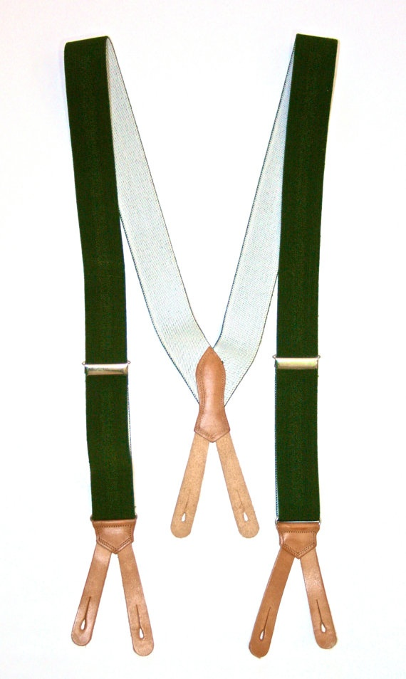 Vintage Mens Green Suspenders / Braces available at VintageMensGoods, $22.00