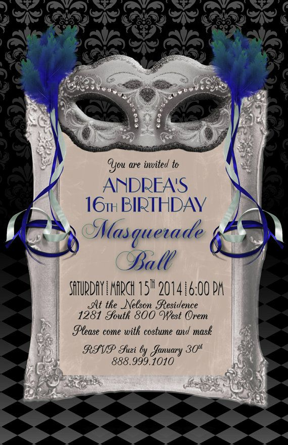 Sweet 16 Masquerade Ball 5X7 Instant Download by WriteontheDot, $12.00