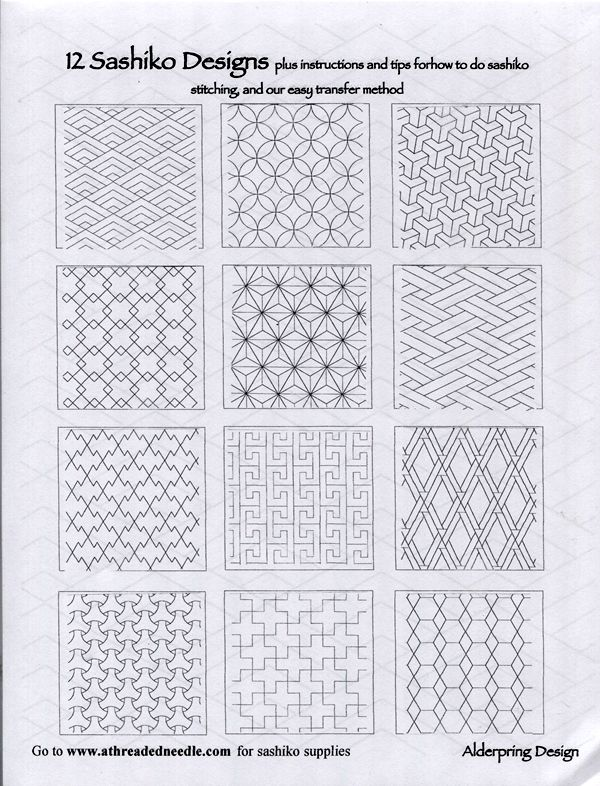 One World Fabrics: Shop | Category: Sashiko Supplies and Patterns | Product: 12 Sashiko Designs