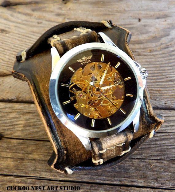 Steampunk watch, leather wrist watch, Leather cuff, Men's watch, Dark brown wrist band, Mechanical skeleton watch - expensive mens watches, watches designer mens, designer watches mens