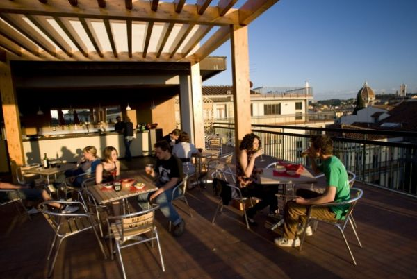 Plus Hostel Florence - Hostel in Florence, Italy. Awesome hostel, great staff, clean rooms, roof top bar, tiki bar and pool.