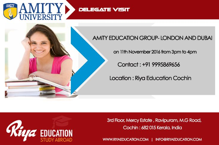 Amity Delegate Visit at Riya Education Cochin. Come and meet the delegate to get first hand information. Visit our website for details.