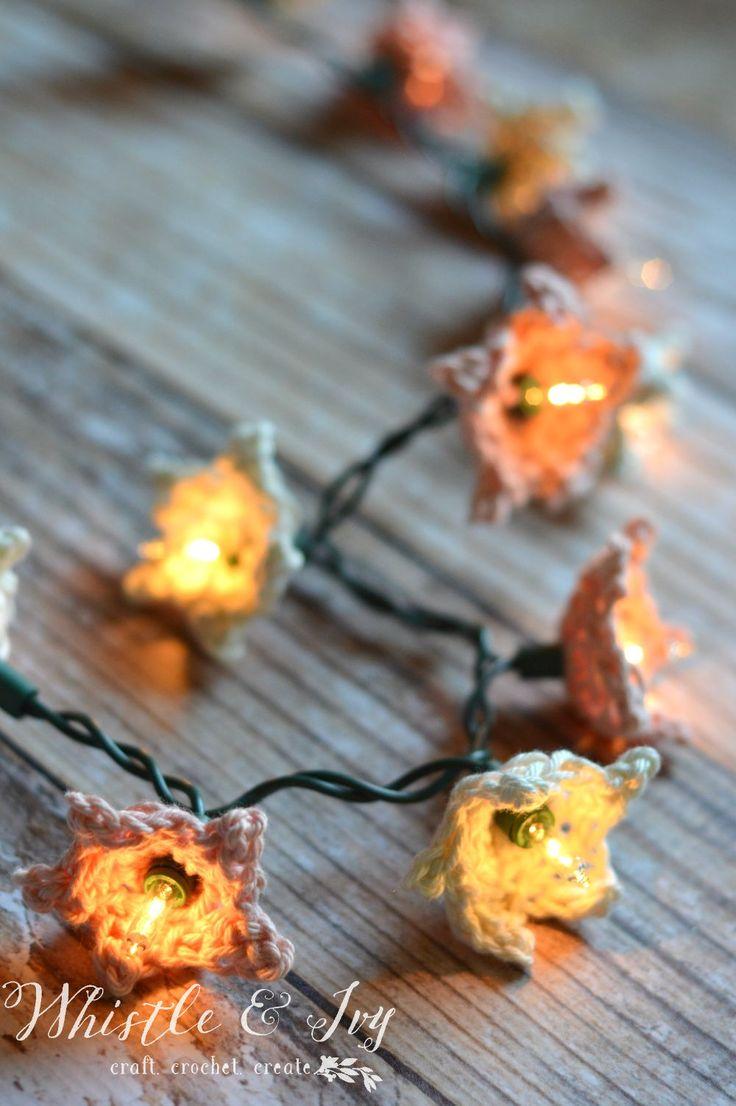 Diy flower string lights - Crochet Star Flower Lights