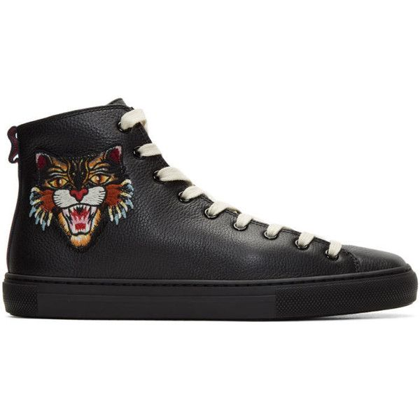 Gucci Black Angry Cat and UFO Major High-Top Sneakers (2.009.255 COP) ❤ liked on Polyvore featuring men's fashion, men's shoes, men's sneakers, black, mens black hi top sneakers, gucci mens sneakers, mens high top sneakers, mens high top shoes and gucci mens shoes