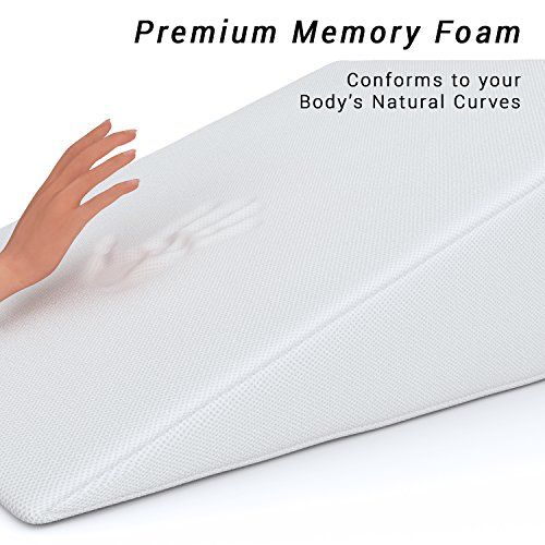 Bed-Wedge-FitPlus-Premium-Wedge-Pillow-15-Inches-Memory-Foam-2-Year-Warranty-24-x-28-x-75-Acid-Reflux-Pillow-With-Removable-Cover-Dr-Recommended-For-Snoring-And-Gerd