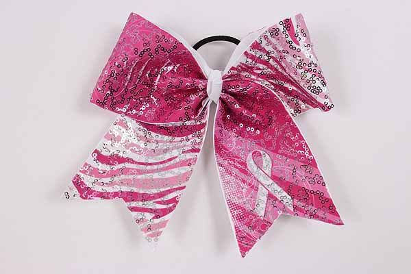 Breast Cancer Awareness Pink Ribbon Cheer Bow With Sequins. CheerDeals.com