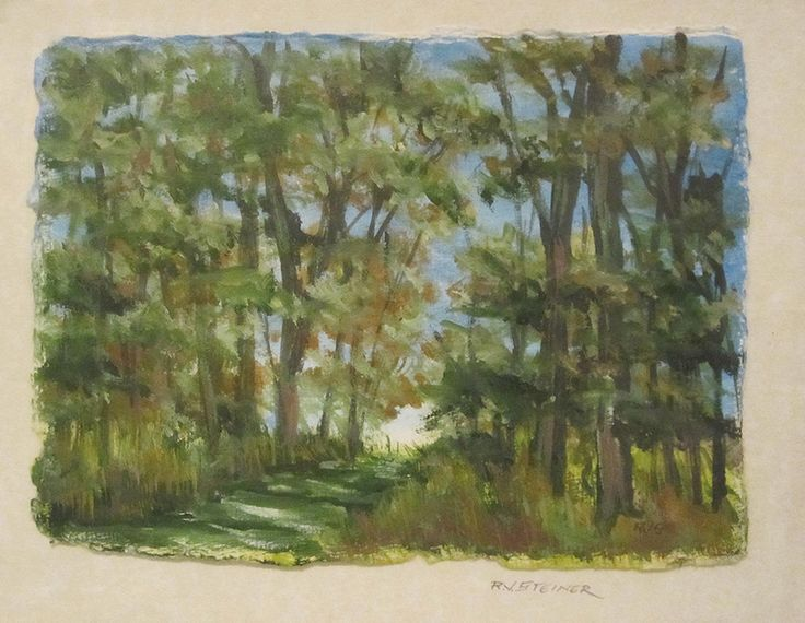 Country Path  oil on watercolor paper