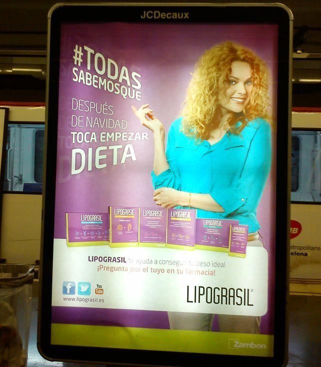 Anucio de Lipograsil en el metro de Barcelona.