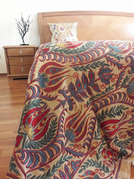 Silk on silk embroidery handmade Suzani from