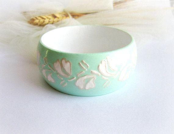 Green wooden bangle handpainted wood bracelet floral bangle