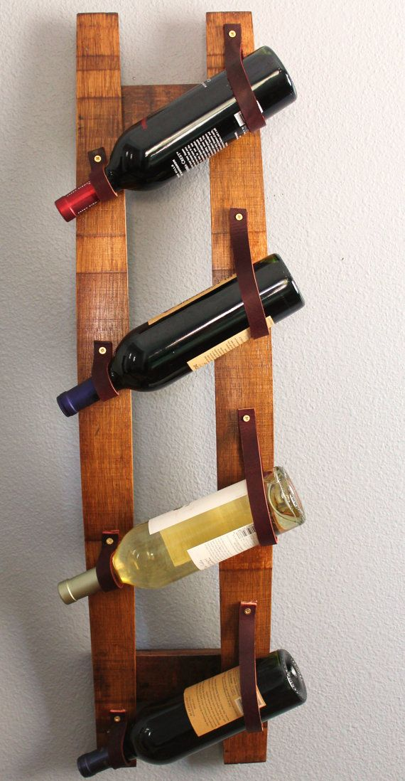 Hairpin console table idea leather straps Versatile repurposed oak wine stave hanging wine rack