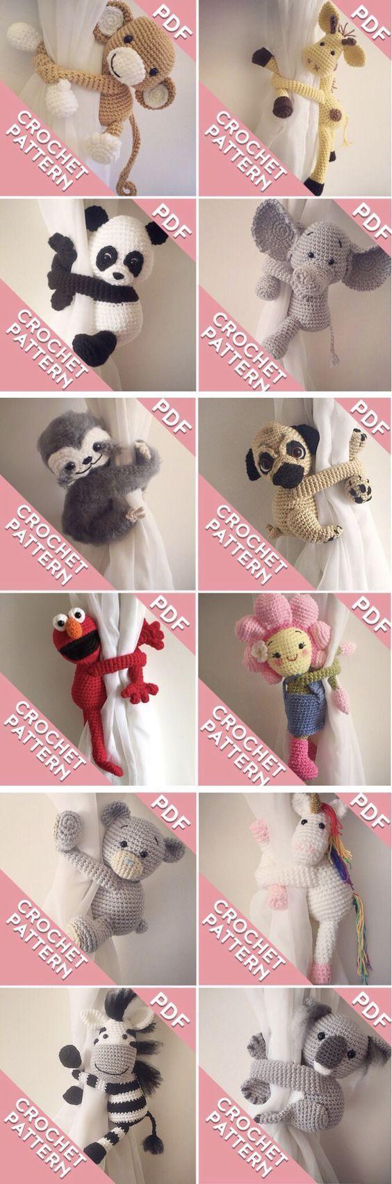 Crochet pattern monkey and friends curtain tie backs