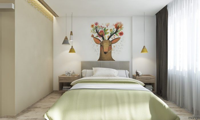 Unique and minimalist bedroom design with soft color... | Visit : roohome.com  #bedroom #bed #design #decoration #amazing #awesome #gorgeous #fabulous #unique #simple #design #decoration #great #interior #creative