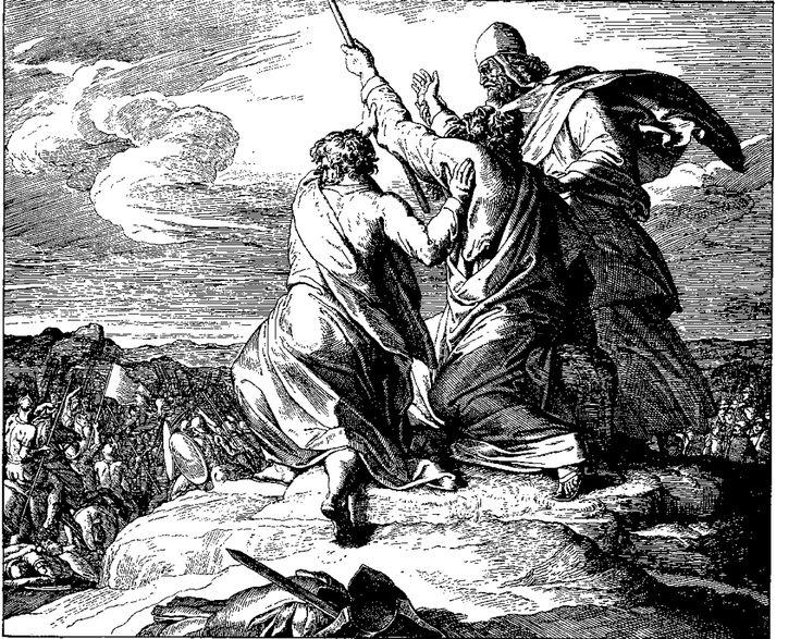Der Kampf mit den Amalekitern. Julius Schnorr von Carolsfeld   – Bilblische Bilder und Zeichnungen