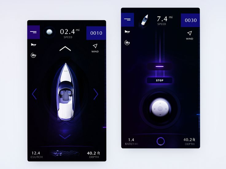 Boat controls UI exploration for self-driving boat concept by Gleb Kuznetsov✈