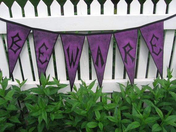Halloween Home Decor Pennant Banner Hand by ArtfullyHandcrafted, $43.00