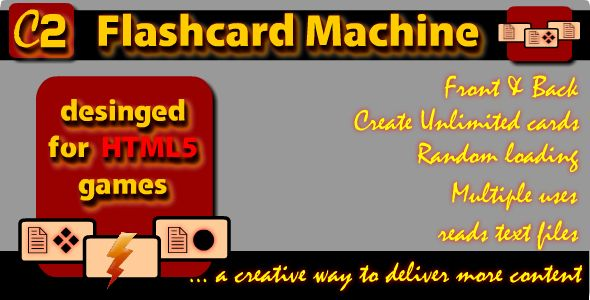C2 Flashcard Machine . C2 Flashcard Machine  allows more content to be displayed on the front and back sides of any elements when the user interacts with
