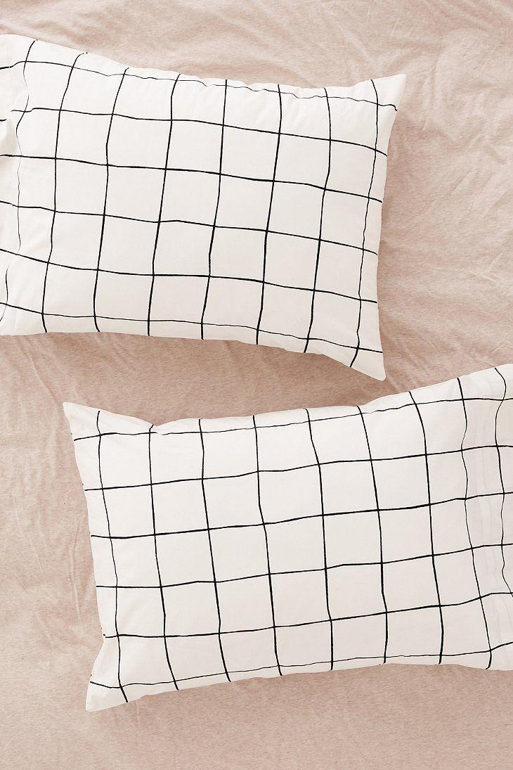 Cheap white pillowcases for crafts - Wonky Grid Pillowcase Set