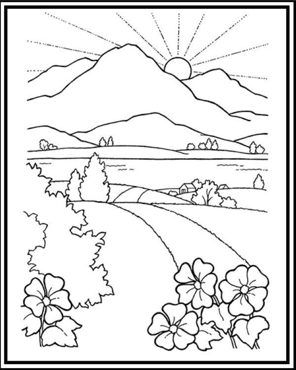 Road To Mountain And Sunset Scenery Coloring Sheet Coloringsheets