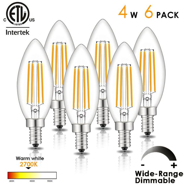 LED Candelabra Bulb Dimmable E12 LED Chandelier Candle Light Bulb E12 Base Home Decoration LED Filament Bulb 4W (40W Equivalent), 330LM, Warm White 2700K, 6 Pack