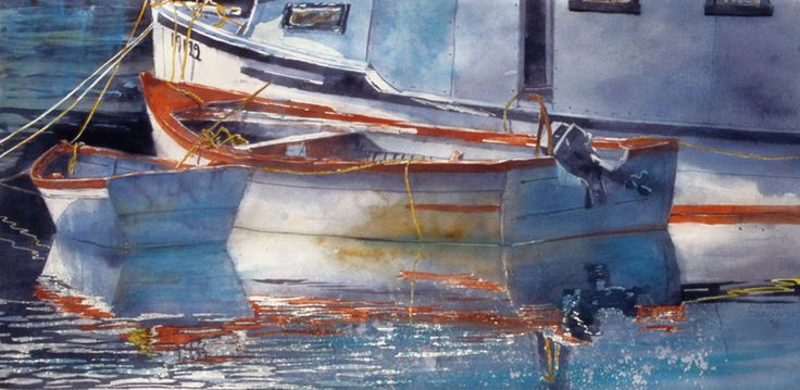 "sunrise,  boats nova scotia 20"" x 40""   micheal zarowsky watercolour on arches paper / private collection"