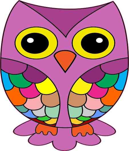 Purple rainbow owl sticker