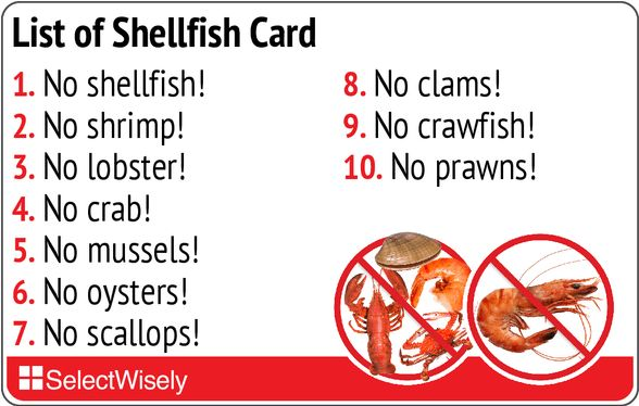 www.selectwisely.com products List_of_Shellfish_card?from=Seafood_Fish_and_Shellfish_Allergies