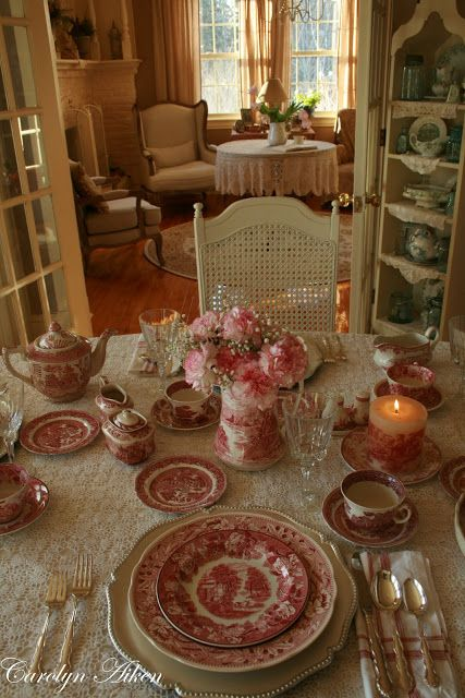 Red and white transferware dishes. There simply is not enough room for all the dishes I would love to have!