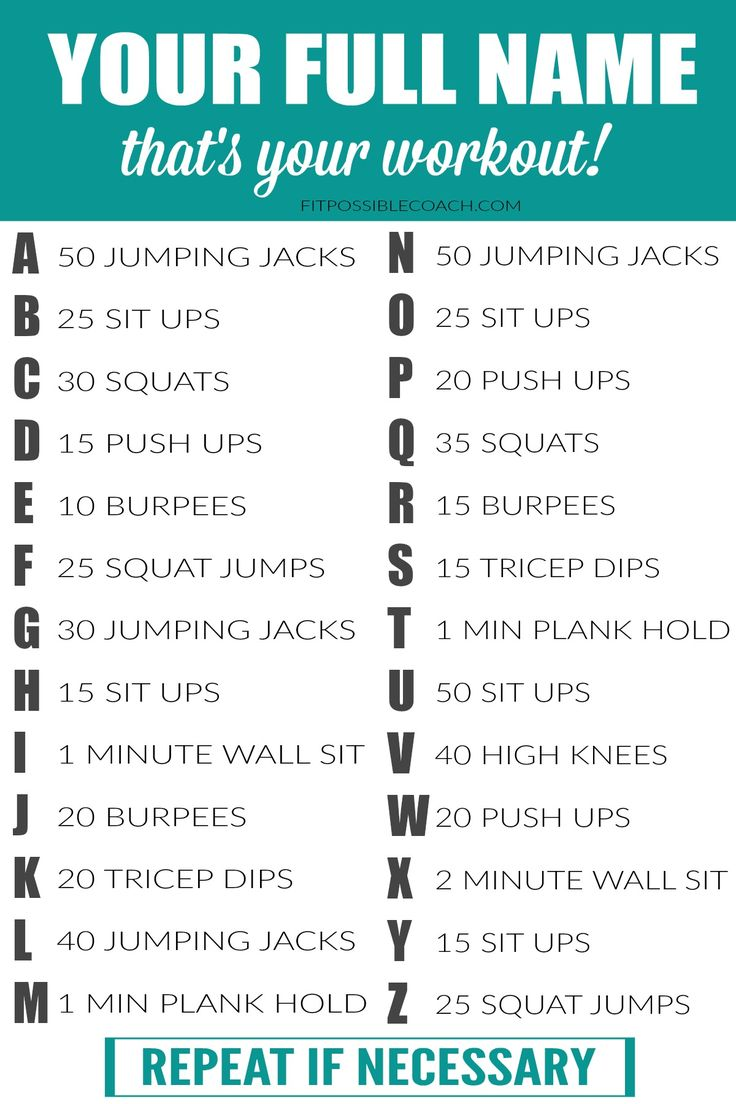 YOUR FULL NAME WORKOUT! Spell out your name and you got your workout for the day! ;) Have fun! http://fitpossiblecoach.com/fitpossibleproject