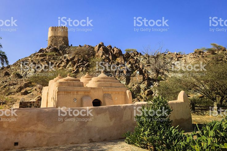 Fujairah, UAE - Al Badiyah Mosque; oldest in country royalty-free stock photo