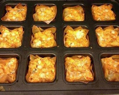 Buffalo Chicken Cups Ingredients:  1 (8 ounce) package cream cheese, softened 1/2 cup Ranch dressing 1/2 cup Buffalo wing sauce 1 cup ...