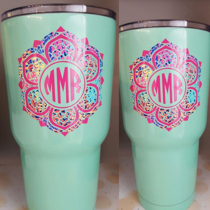 Lily Inspired Monogram On Etsy Yeti Monograms Pinterest - How to make vinyl decals using cricut