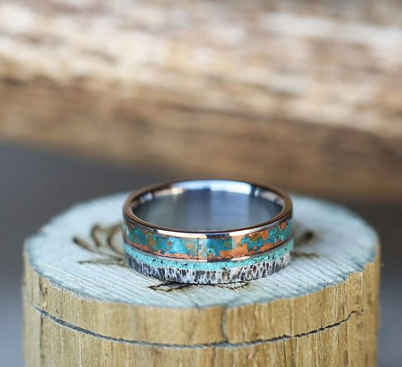 Mens Wedding Band Patina Copper Antler & Turquoise Wedding