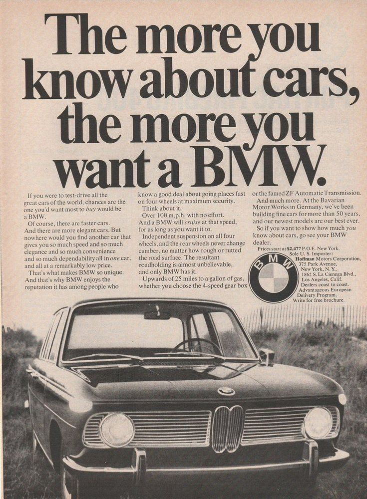 1967 vintage ad - The more you know about cars, the more you want a BMW