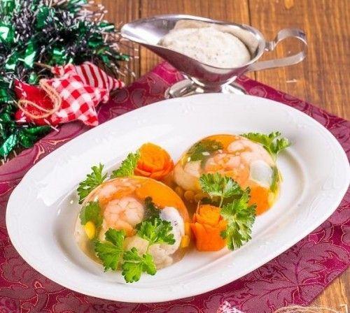 Рыбное заливное с креветками