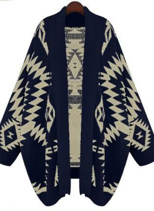 Navy Batwing Geometric Cardigan Sweater S172 on Wanelo; super cozy-looking