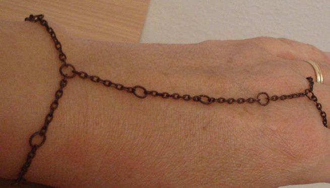 Oxidized brass slave bracelet