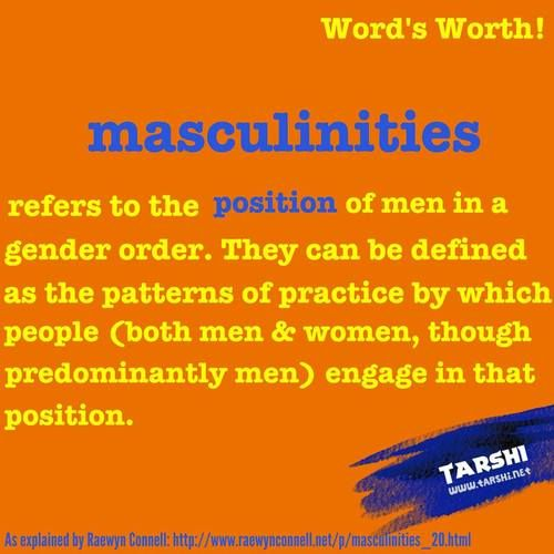 Masculinities: refers to the position of men in a gender order. They can be defined as the patterns of practice by which people (both men & women, though predominantly men) engage in that position~ As explained by Raewyn Connell. [follow this link to find an analysis, which explores the manifestation of a hegemonic masculinity in the the Boy Scouts of America: http://www.thesociologicalcinema.com/4/post/2013/03/-homophobia-hegemonic-masculinity-and-the-boy-scouts-of-america.html]